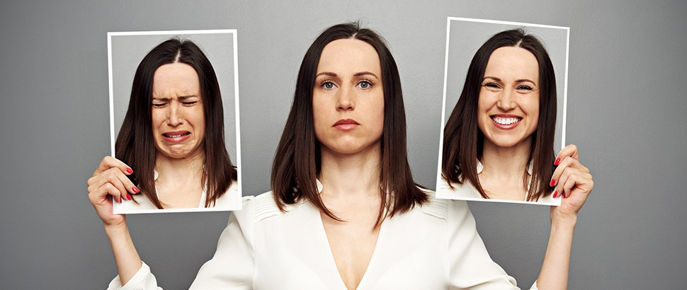 Woman exhibiting multiple emotions