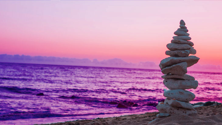 Stone stack at sunset