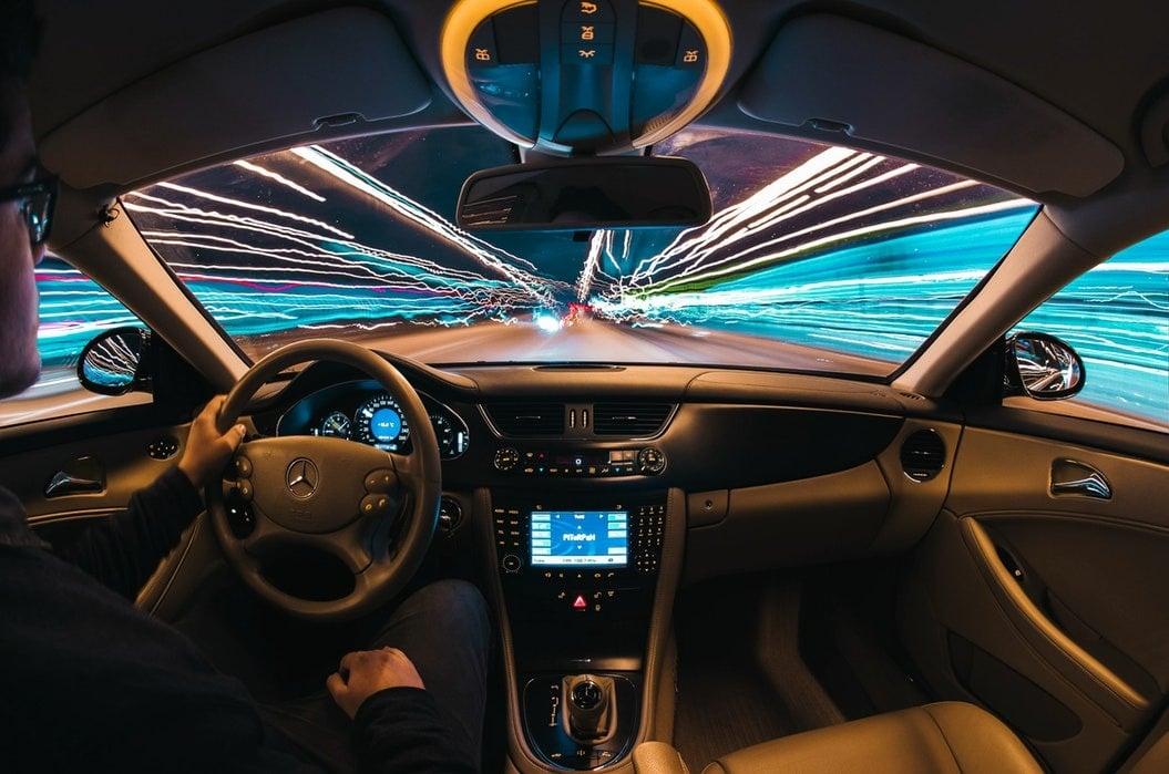 Streaks of light through windshield
