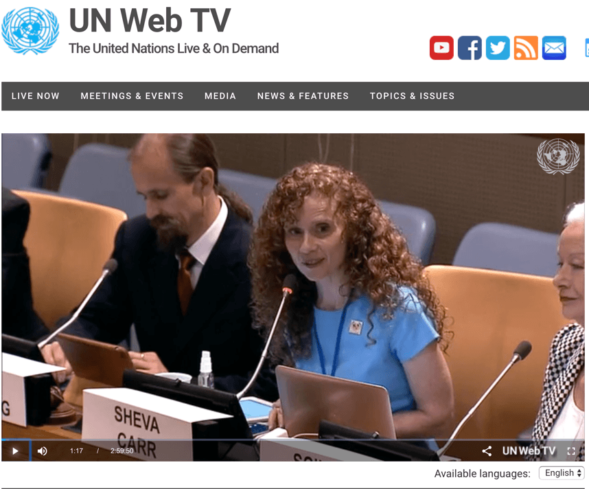 Sheva Carr and Robert Browning at the UN